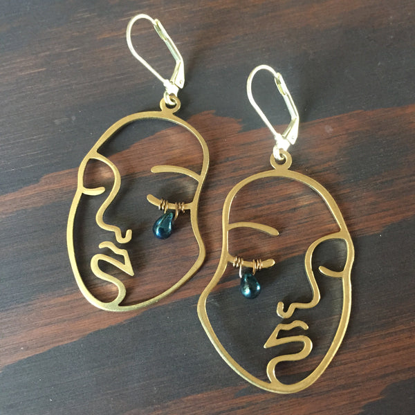 Sad Girl Brassies - Face Brass Statement Earrings