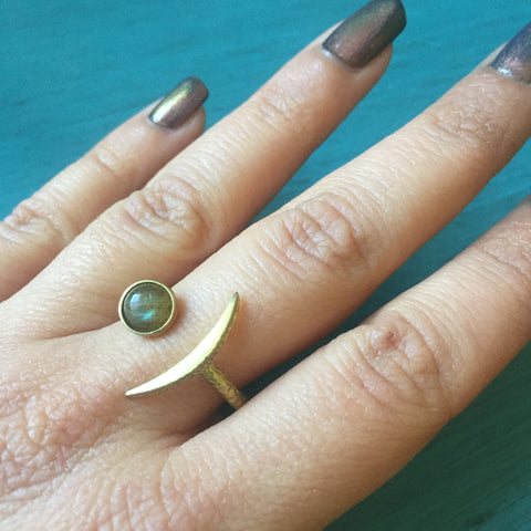 Sliver Crescent Moon Ring - Gemstone Brass Crescent Adjustable Band -