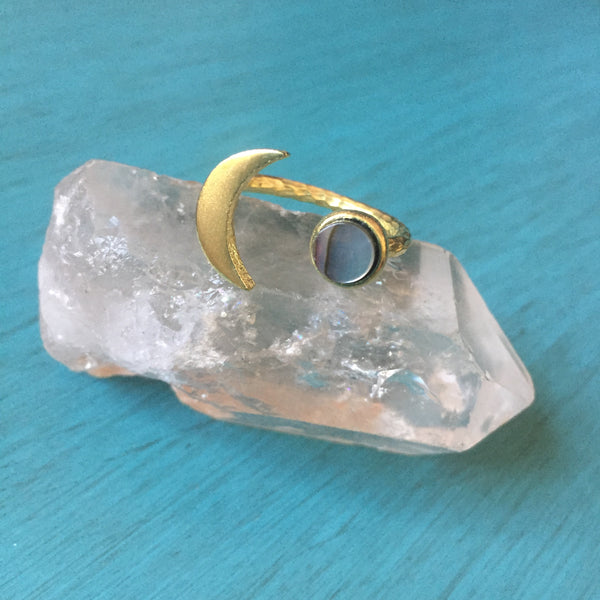Brassy Moon Ring - Gemstone Brass Crescent Adjustable Band - Chalcedony Moonstone Abalone Labradorite