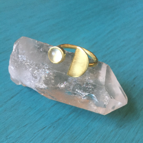 Half Moon Ring - Gemstone Brass Crescent Adjustable Band - Onyx Moonstone Green Aventurine