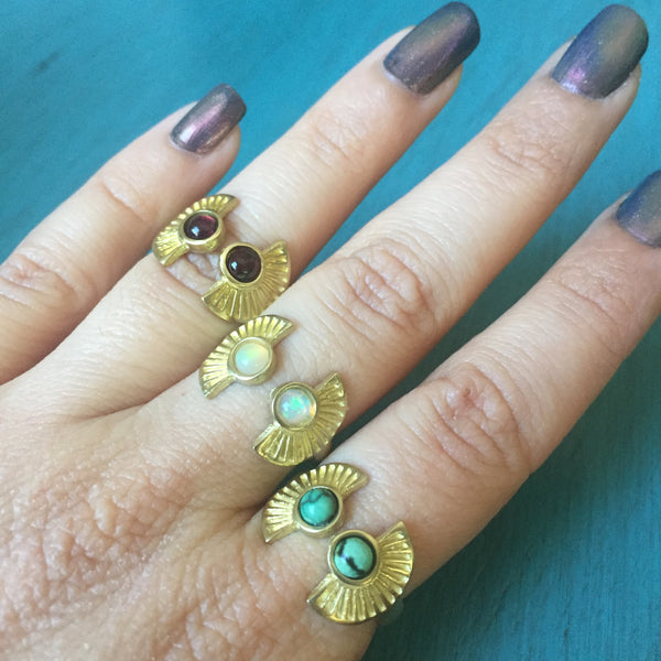 Sunrise Duo Ring - Brass Bypass Adjustable Wrap Around Midi Ring - Turquoise Opal Garnet - One Size