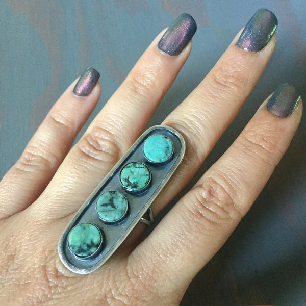 African Turquoise Shield Ring - 4 Stone Oblong Oval Statement Band Sterling Silver - Size 7