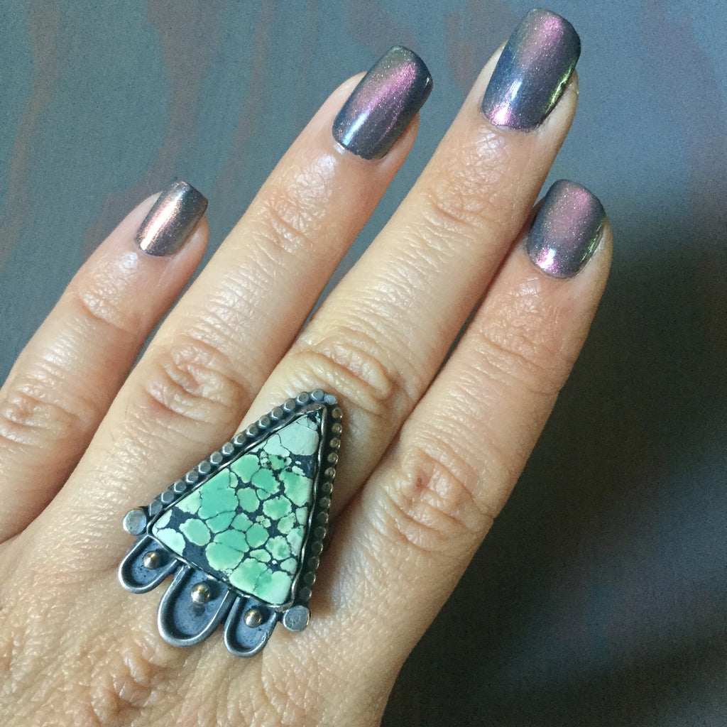 Hubei Turquoise Statement Ring - Sterling Silver 925 Southwest Beaded Border Accent Ring - Size 6.5