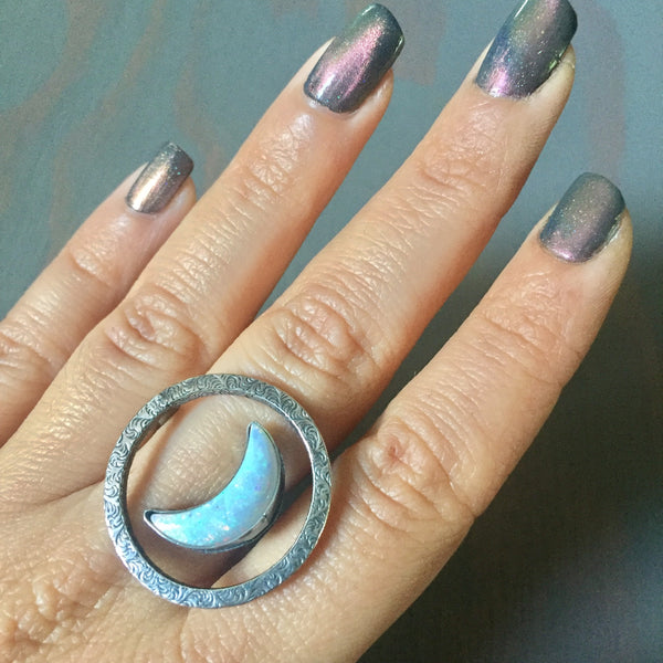Turquoise Opal Orbit Moon Ring - Floating Illusion Sterling Silver Eclipse .925 Jewelry - Size 6.5 7.5 8