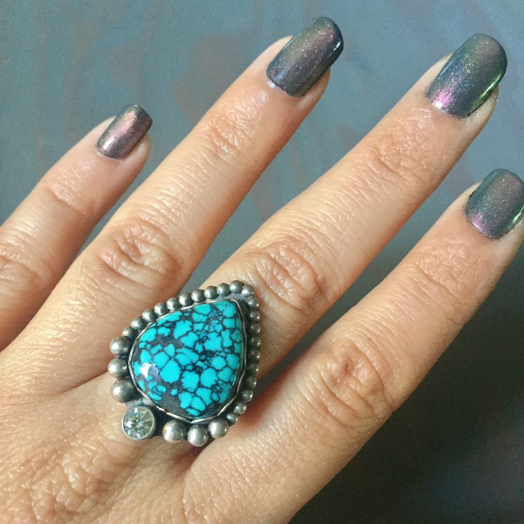 Hubei Turquoise with Cz & Beaded Border Ring- Oxidized Sterling Silver 925 Size 6.5