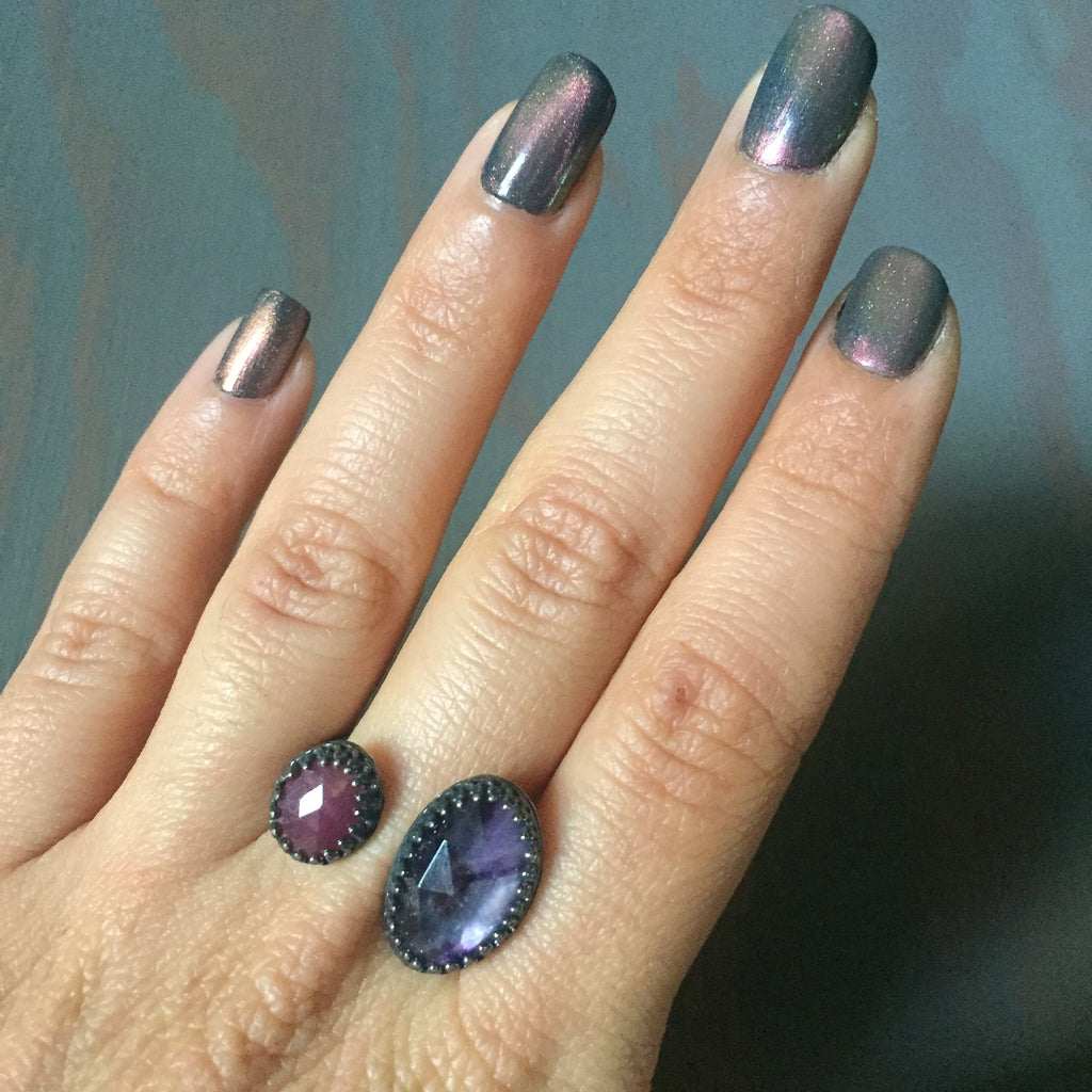 Faceted Amethyst Ruby Rose Cut Adjustable Two Stone Ring - Floating Illusion Oxidized Sterling Silver 925 Jewelry - Size 7 8 9