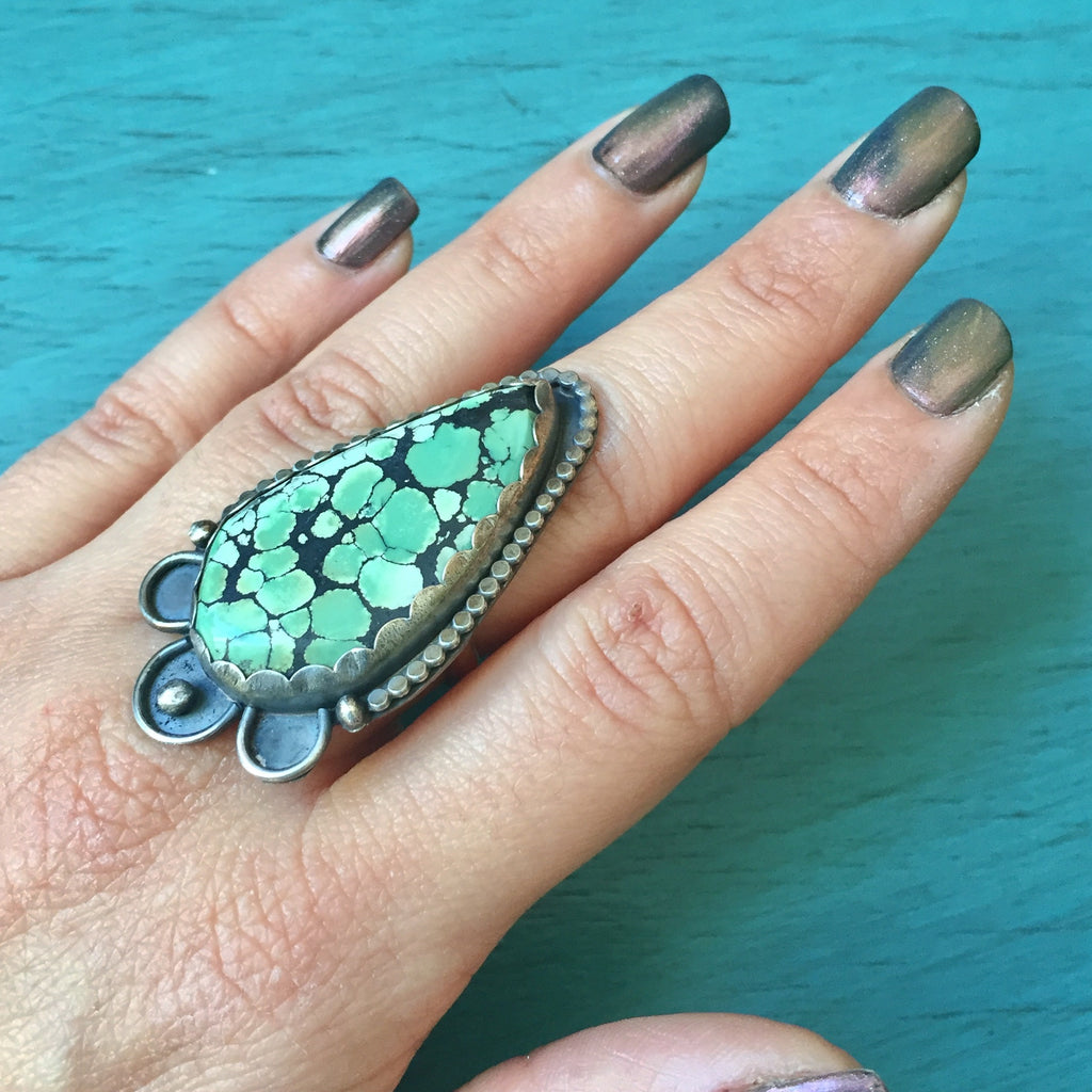 Red River Turquoise Statement Ring - Seafoam Green Matrix Hubei - Sterling Silver .925 Size 8