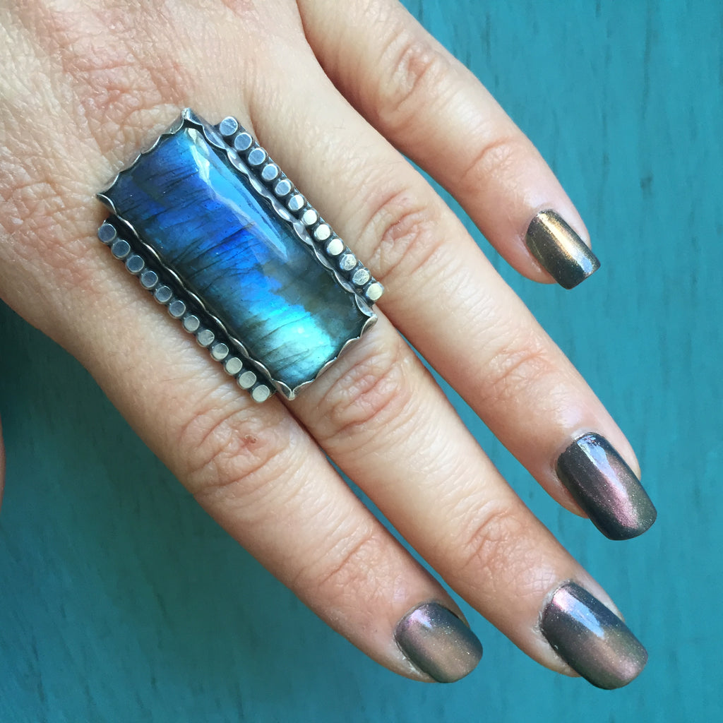 Labradorite Rectangle Border Ring - Sterling Silver .925 Cabochon Bar Jewelry
