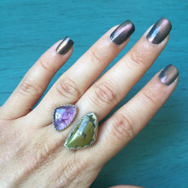 Hubei Turquoise & Amethyst Duo Ring - Adjustable two-stone Ring Sterling Silver .925