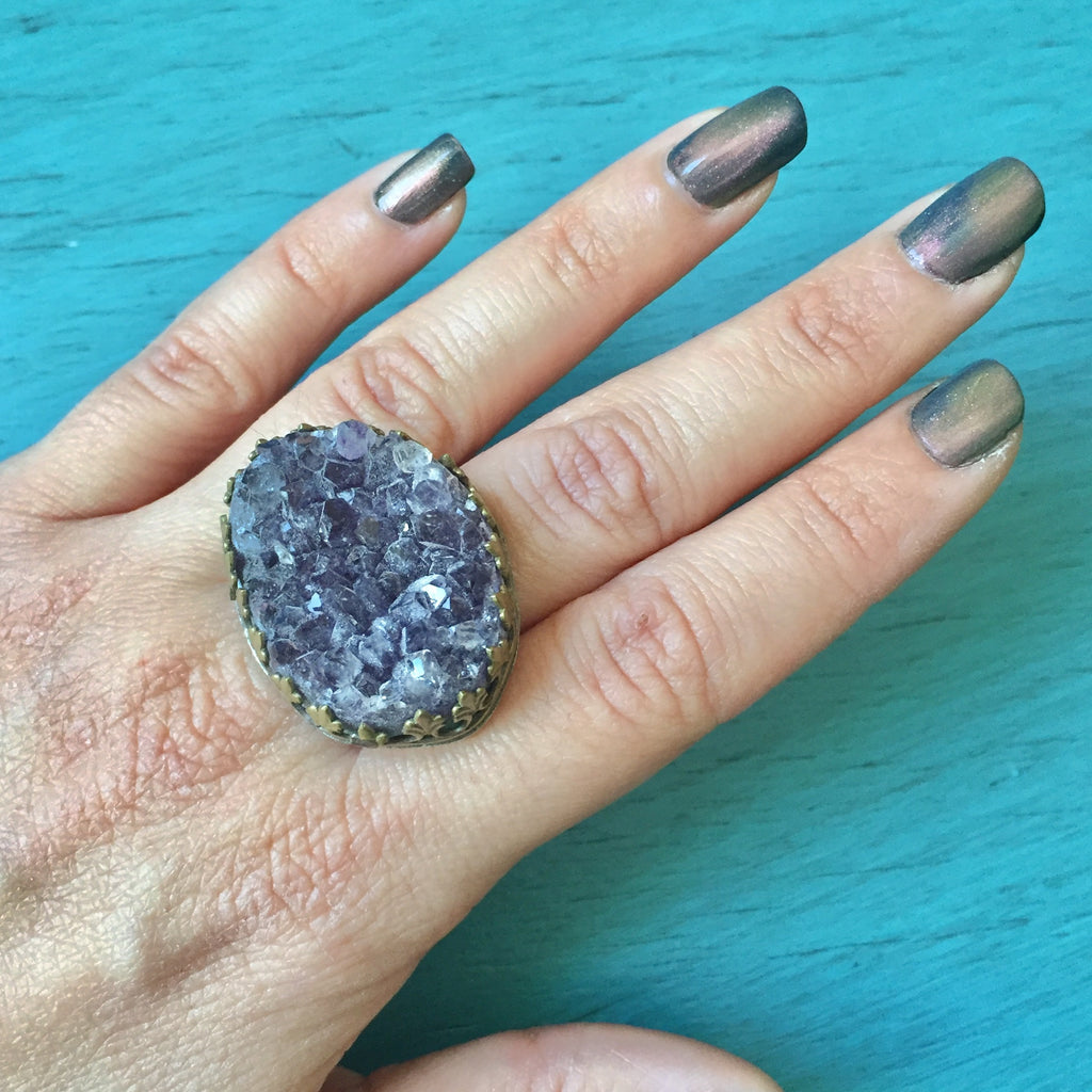 Amethyst Geode Crown Ring Chunky Purple Druzy Slice Brass and Sterling Silver