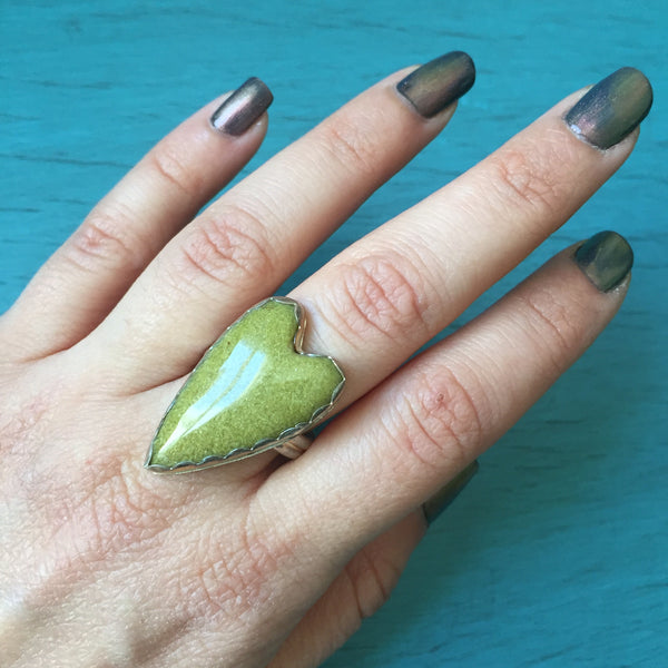 Green Jasper Heart Ring Sterling Silver Gemstone Statement Jewelry