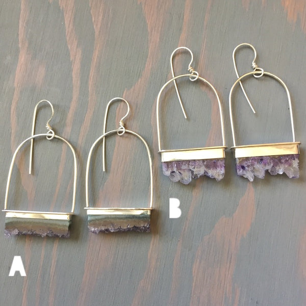 Amethyst Slice Semi-Oval Earrings Geode Druzy Hoops Sterling Silver