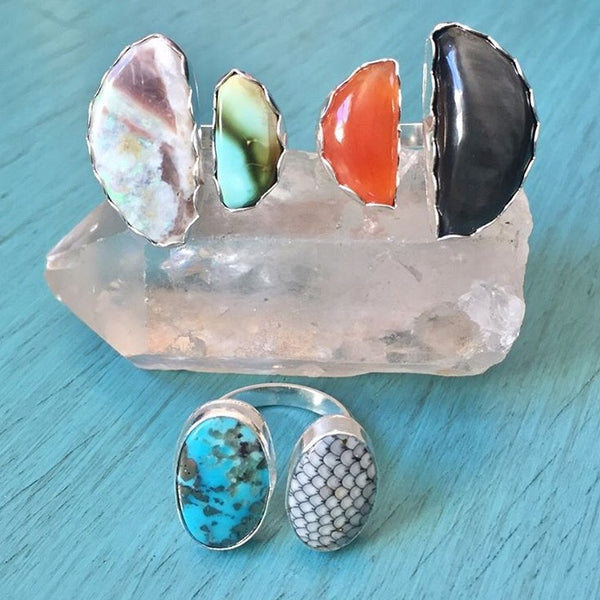 Fossilized Fish Scale & Morenci Turquoise Duo Ring - Two-stone Adjustable Ring Sterling Silver .925 - Size 7 8