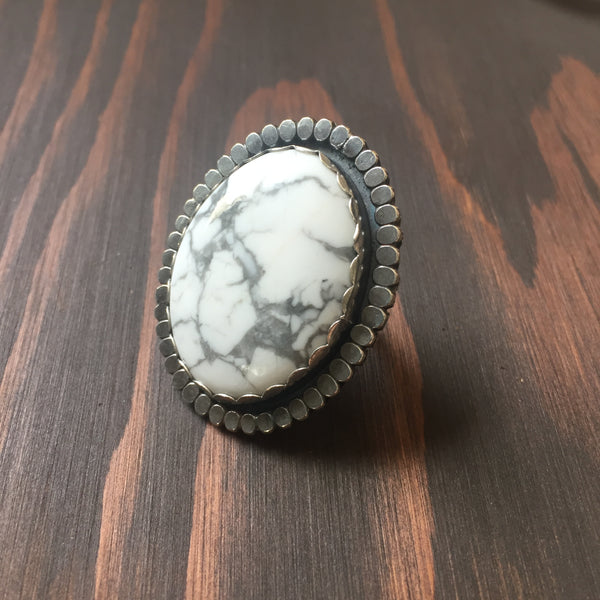 Howlite Beaded Halo Statement Ring - White Turquoise Large Chunky Cocktail Jewelry - Sterling Silver 925 Size 7 7.5