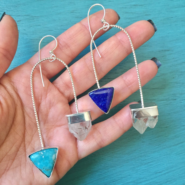 Apophyllite Crystal Turquoise & Lapis Lazuli Mismatched Arc Earrings - Asymmetric Jewelry Blue Stone Asymmetrical Earrings - Sterling Silver 925