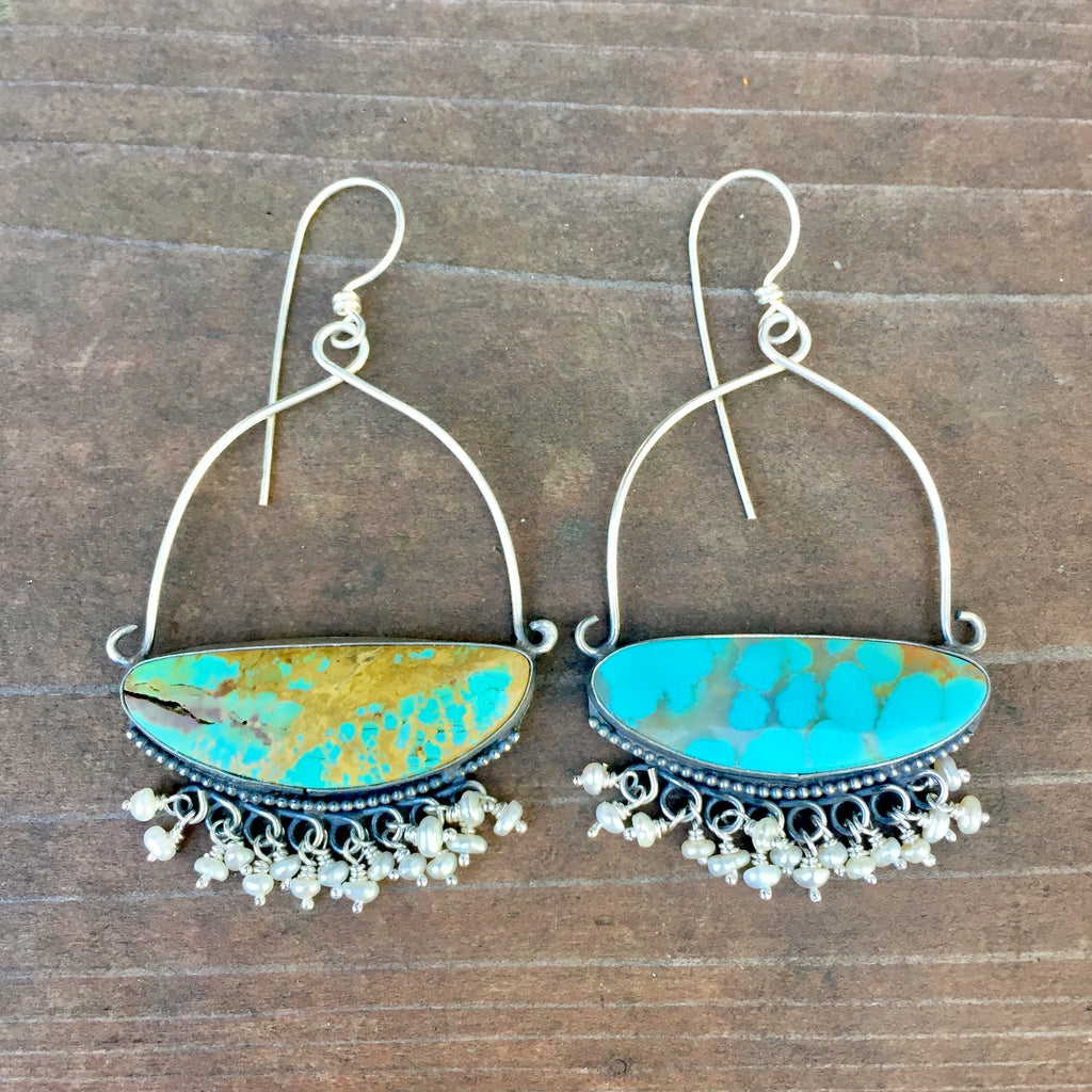 Pilot Mountain Turquoise Pearl Fringe Earrings - Nevada Turquoise Sterling Silver 924 Statement Chandelier Earrings