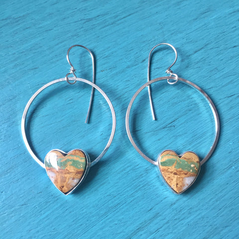 Royston Ribbon Turquoise Heart Hoops - Sterling Silver 925 Hoop Earrings