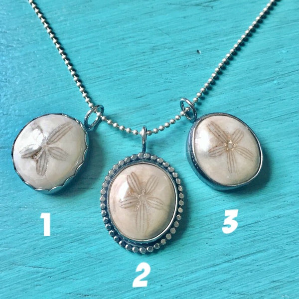 Fossilized Sand Dollar Pendant - Sterling Silver 925 Fossil Specimen Charm - Beachy Necklace Friendship Pendants