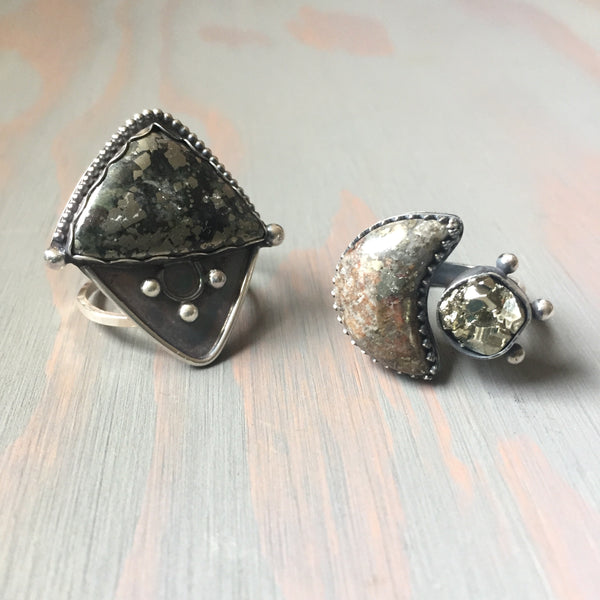Moon and Star Pyrite Ring - Sterling Silver 925 Shooting Star Moon Space Rock Adjustable Jewelry - Size 6-7