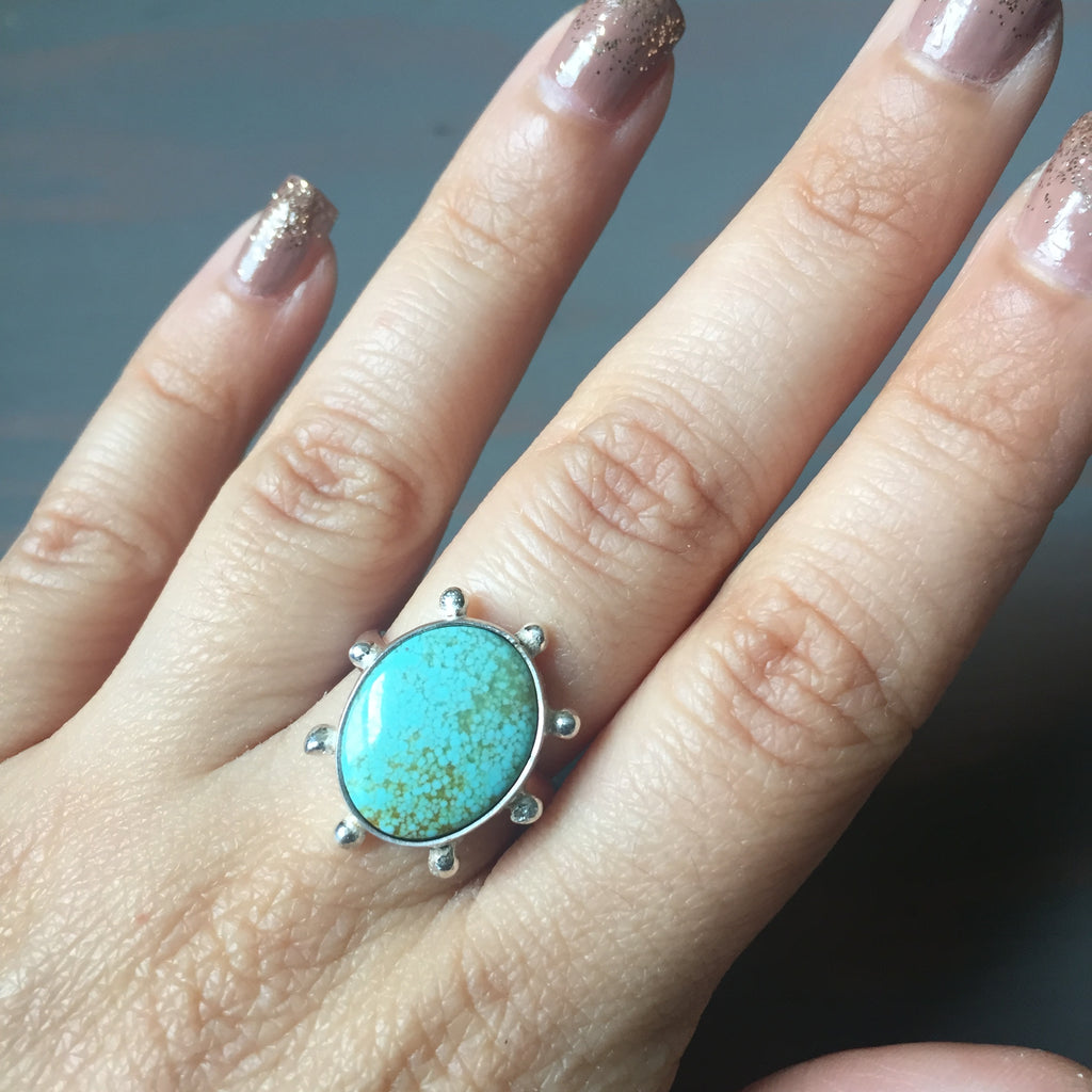 Turquoise Beaded Ring - Sterling Silver 925 Robins Egg Blue #8 Mine Turquoise Jewelry - Size 6