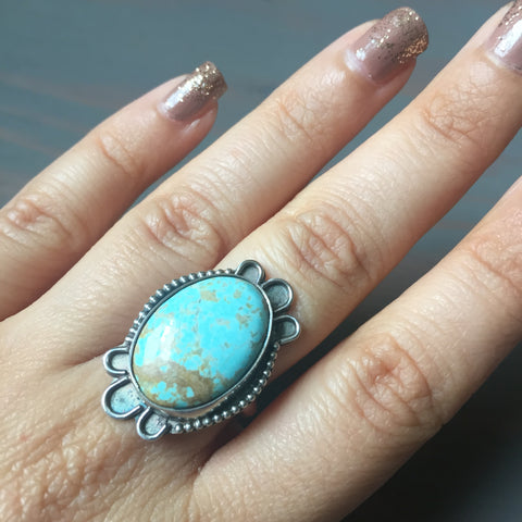 Turquoise Border Ring - Sterling Silver 925 Robins Egg Blue #8 Mine Turquoise Vintage Inspired Jewelry - Size 6.5 7