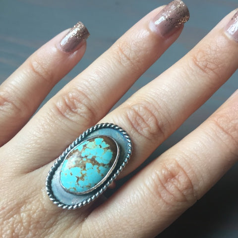 Turquoise Twisted Border Ring - Sterling Silver 925 Robins Egg Blue #8 Mine Turquoise Jewelry - Size 6