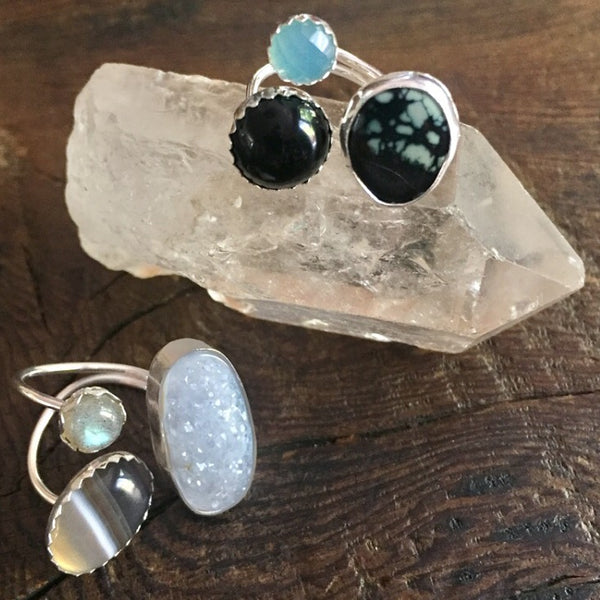 Adjustable Three Stone Pebble Ring - Banded Onyx Labradorite White Druzy Sterling Silver - Size 7 8