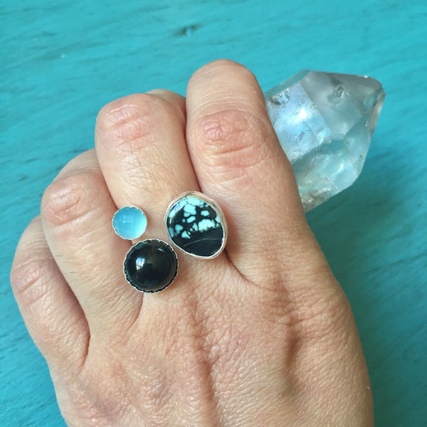 Adjustable Three Stone Pebble Ring - Black Onyx Blue Chalcedony New Lander Turquoise Variscite Sterling Silver 925 - Size 5 6