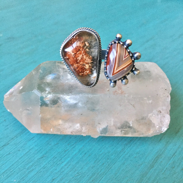 Phantom Quartz Red Banded Agate - Two Stone Open Ring Adjustable Jewelry Sterling Silver 925 - Size 7.5-8.5