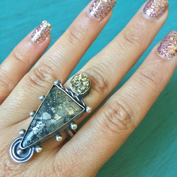 Pyrite Ancients Ring - Fools Gold Druzy Alien Crop Circle Triangle Cabochon Ring - Size 7
