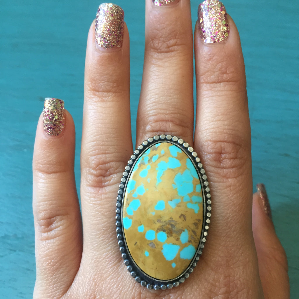 Oblong Nevada Turquoise Oval Ring - Pilot Mountain Mine Beaded Trim Sterling Silver .925 - Size 10