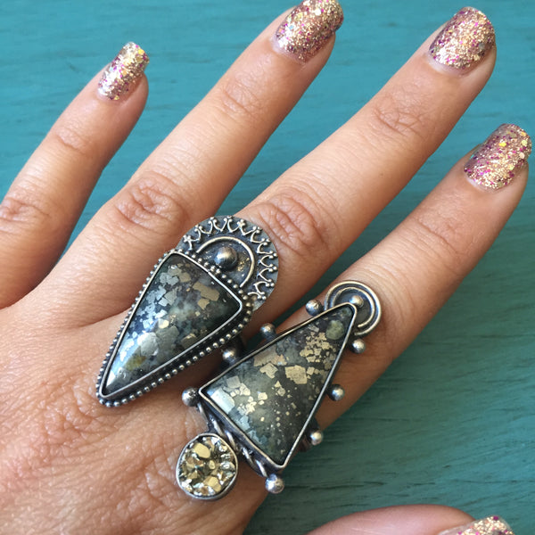 Pyrite Crown Sunrise Halo Ring - Pyrite Triangle Cabochon Ring - Size 8