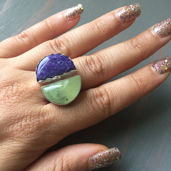 Two Stone Crescent Ring - Prehnite Charoite Adjustable Jewelry Sterling Silver 925 - Size 7 8