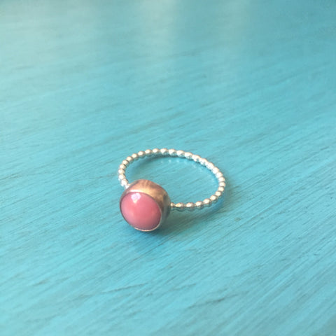 Copper Bezel Coral and Sterling Silver Beaded Stacking Ring - Size 7