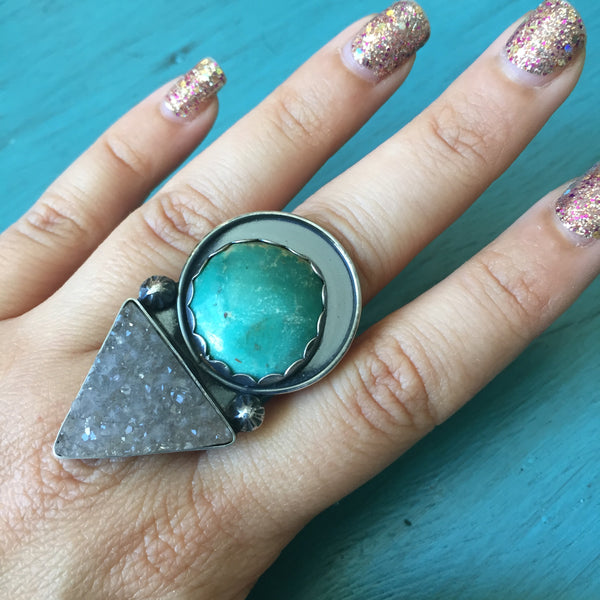 Turquoise Agate Druzy Goddess Ring - Geometric Triangle Crystal Druzies Sterling Silver 925 Jewelry - Size 5.5 6