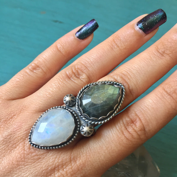 Faceted Rainbow Moonstone Labradorite Two Stone Ring - Oxidized Sterling Silver 925 - Moon Dust Collection - Size 9