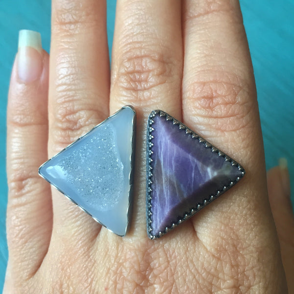 Agate Druzy Morado Opal Triangle Duo Ring - Sterling Silver 925 Adjustable Double Triangles - Size 8-9
