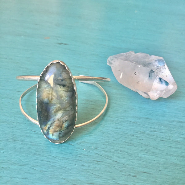 Labradorite Adjustable Cuff Bracelet - Rainbow Flash - Sterling Silver 925