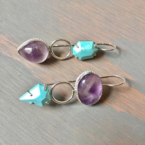 Amethyst Turquoise Mismatched Earrings - Asymmetric Faceted Prong Set Gemstone Asymmetrical Pair -  Star Amethyst Purple Gem Stone Jewelry