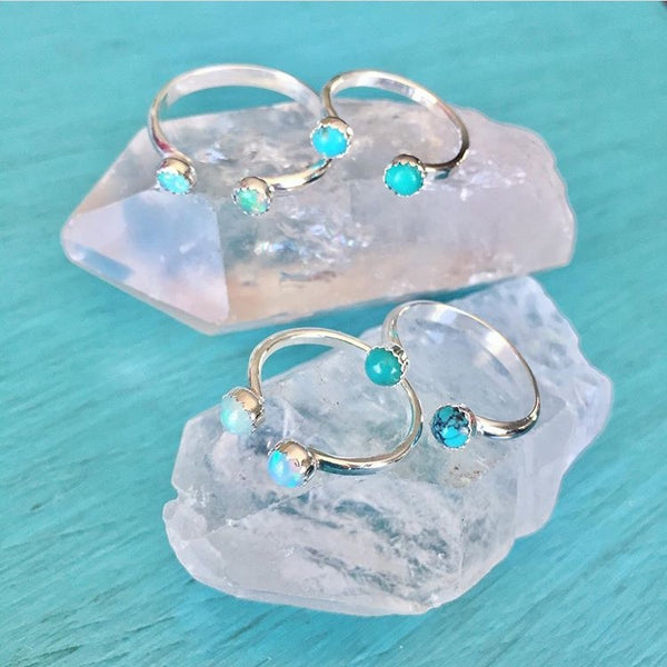 Double Stone Adjustable Open Stacker Ring - Oxidized Sterling Silver 925 Round Stacking Midi Toe Ring Band - Turquoise Opal Gemstone - Size 2 3 4 5 6