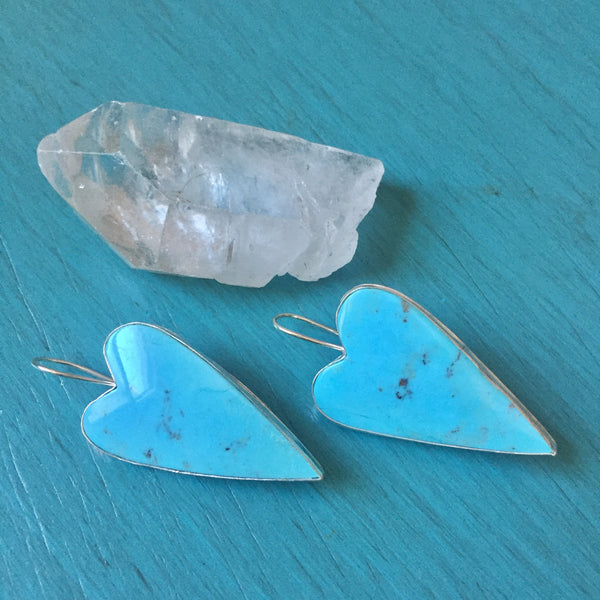 Turquoise Heart Drop Earrings - Campitos Mine Big Heart Drops - 925 Sterling Silver