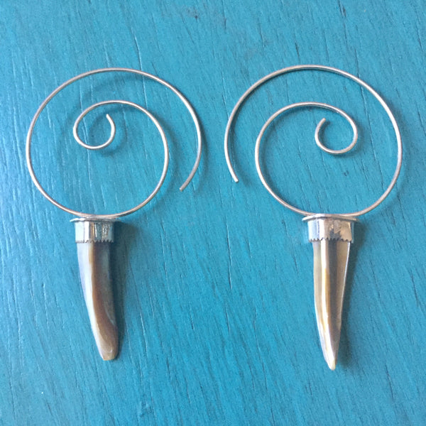 Mother of Pearl Shell Hoop Spirals - Lightweight Spiral Thread Earrings Double Terminated Point Threader Hoop - Sterling Silver 925