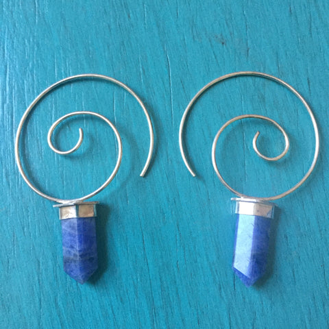 Sodalite Crystal Point Spiral Earrings - Blue Stone Lightweight Hoop Earrings - Sterling Silver 925 Hoops