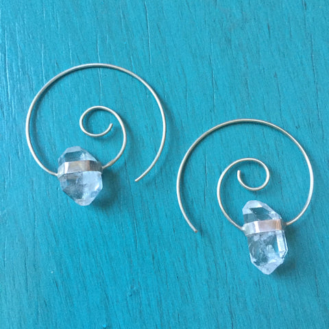 Herkimer Diamond Hoop Spirals - Lightweight Spiral Thread Earrings Clear Quartz Crystal Double Terminated Point Threader Hoop - Sterling Silver 925