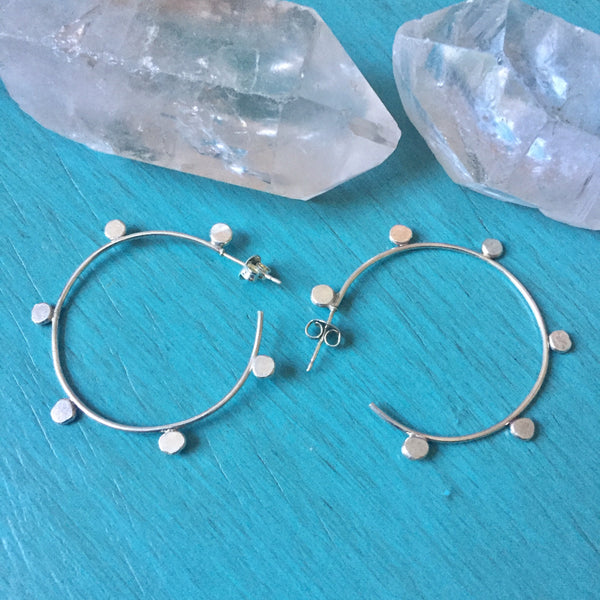 Dotted Hoop Earrings - 925 Sterling Silver Dainty Lightweight Hoops with Posts & Friction Backs