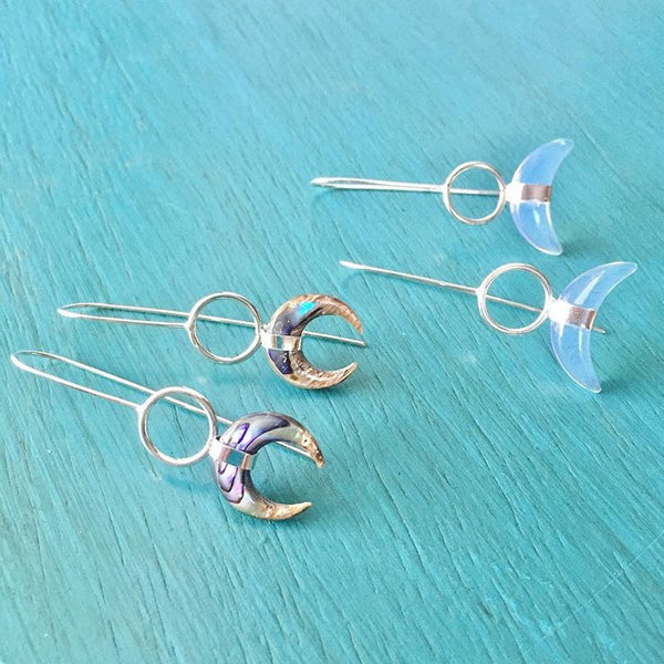 Opalite Moon Earrings - Double Horn Crescent Drop White Opal Jewelry - 925 Sterling Silver
