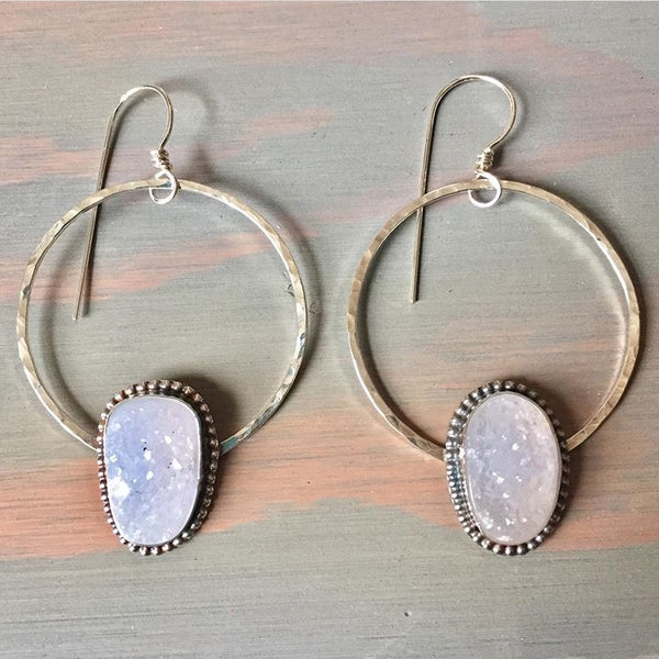 Druzy Hammered Hoop Earrings - White Agate Crystal Hoops - 925 Sterling Silver Jewelry