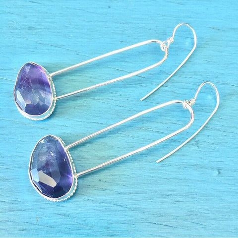 Fluorite Semi Oval Hoops - faceted Purple Crystal Hoop Earrings - Sterling Silver 925 Hoop Earrings