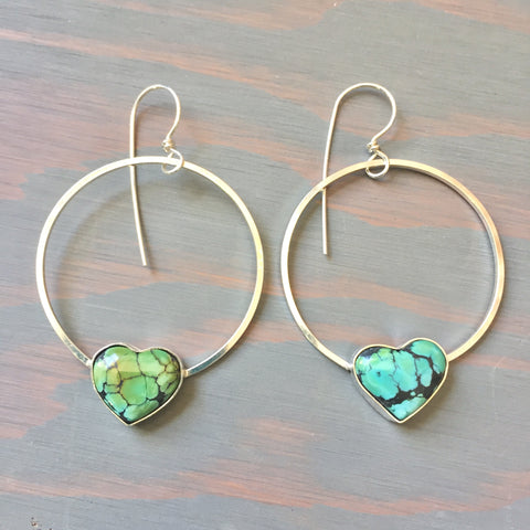 Hubei Turquoise Heart Hoops - Sterling Silver 925 Hoop Earrings