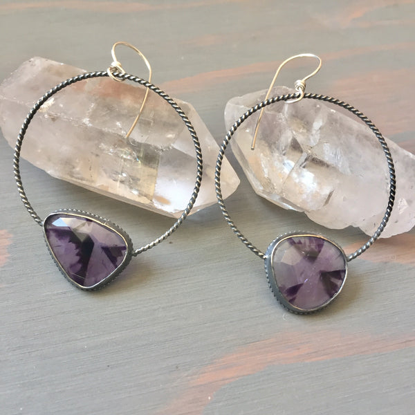 Star Amethyst Rose Cut Twisted Hoop Earrings - Faceted Gemstone Sterling Silver 925 Hoops